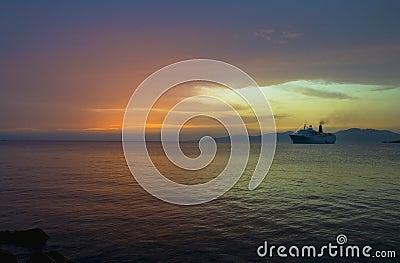 Cruise boat at night