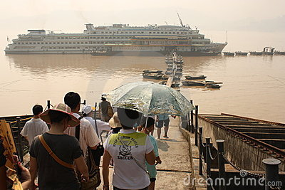 Cruise Boat with passengers on Yangtze river Editorial Image
