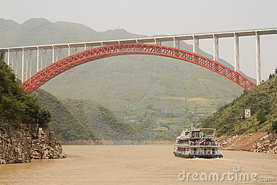 Cruise Boat and the red bridge on Yangtze river