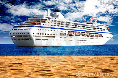 Cruise liner by the beach