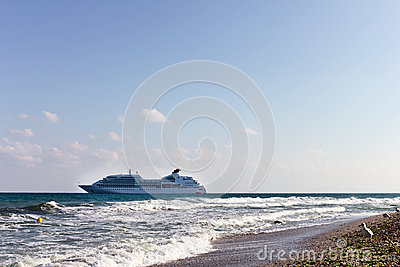 Cruise liner near to the beach Editorial Stock Photo