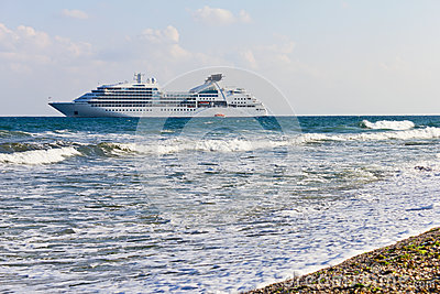 Cruise liner near to the seacoast Editorial Image