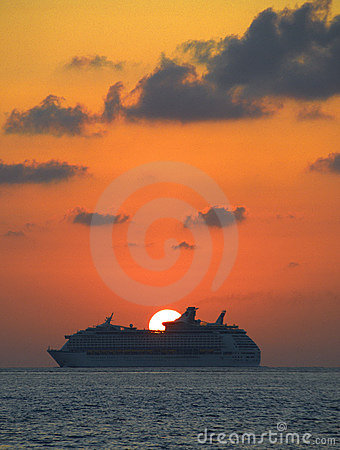 Cruise liner and setting sun