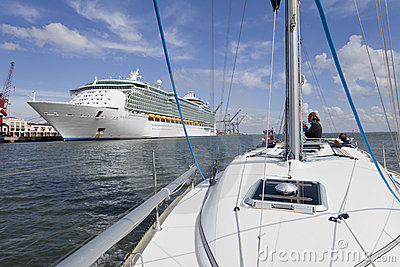 Cruise liner and Yacht Editorial Stock Image