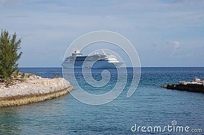 Cruise Ship Open Seas Two Islands