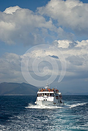 Cruise ship with passengers on the sea Editorial Image