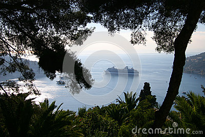 Cruise Ship at anchor in Mediterranean harbour, Fr