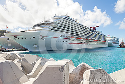 Cruise Ship Anchored in Caribbean Destination Port