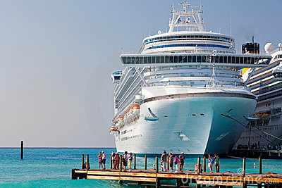 Cruise Ship Anchored in Grand Turk, Caicos Islands Editorial Stock Photo
