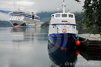 Cruise ship anchored in Ulwik fjord Editorial Photography