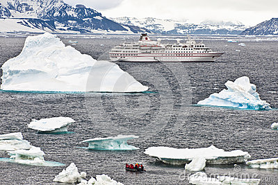 Cruise ship in Antarctia
