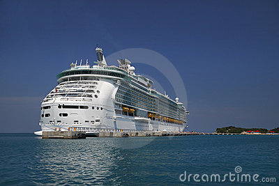 Cruise ship blue Caribbean waters