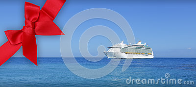 Cruise ship on blue ocean