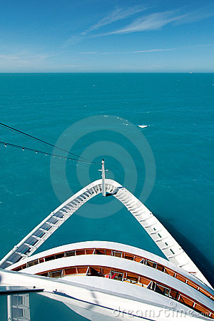Cruise ship bow on the high seas
