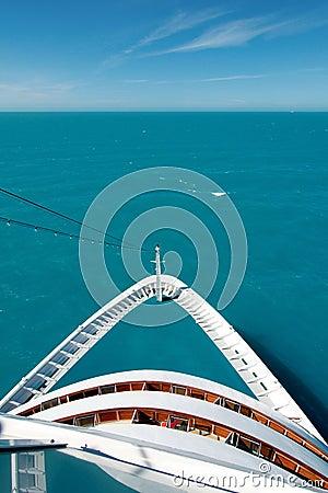 Cruise ship bow on the high seas