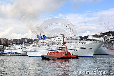 Cruise Ship Coral in Genoa harbor, Italy Editorial Photo
