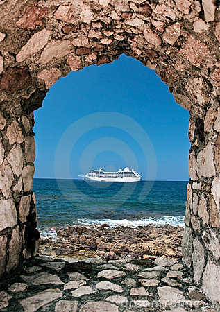 Cruise ship on crete coastline
