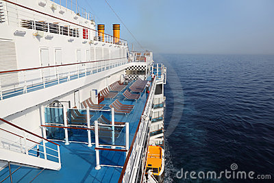 Cruise ship deck in ocean view from above