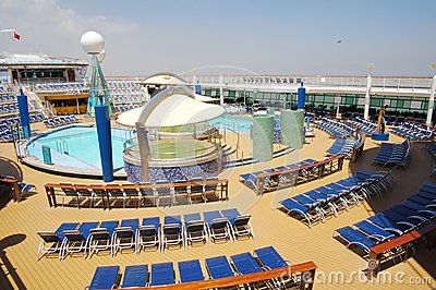 Cruise ship deck,Voyager of the Seas Editorial Stock Image