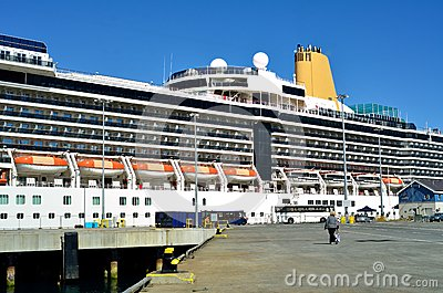 Cruise Ship with Departing Passengers