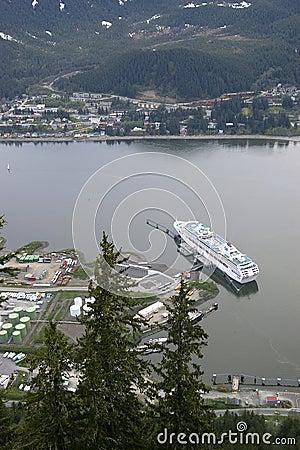 Cruise ship at dock in Juneau Alaska