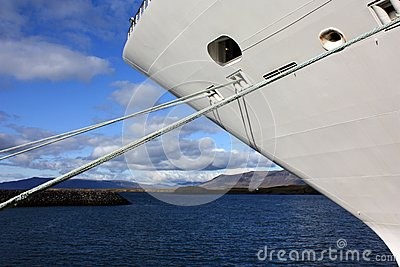 Cruise ship docked in iceland