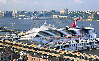 Cruise Ship Docked In New York City Port Stock Image