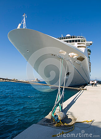 Cruise ship docked in the port