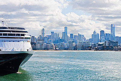 Cruise ship docked in Port Phillip Bay