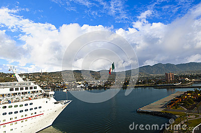 Cruise ship docking in Ensenada Mexico