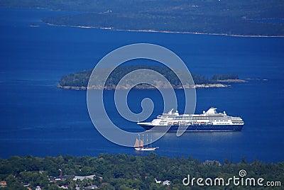 Cruise ship entering Bar Harbor