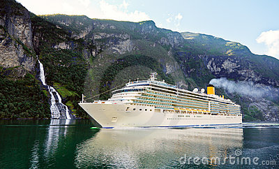 Cruise ship in fiord