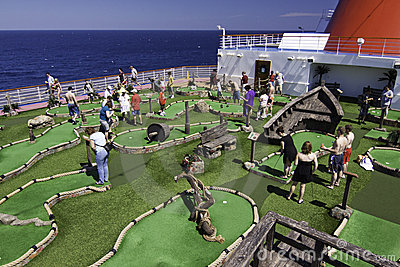 Cruise ship fun - Mini golf at sea Editorial Image