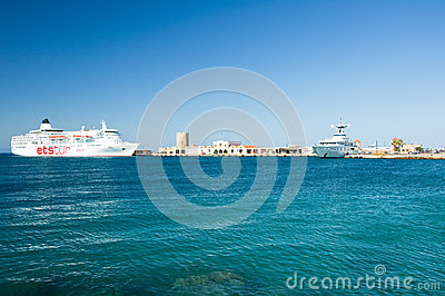 Cruise ship in a harbour. Greece, Rhodes. Editorial Stock Image
