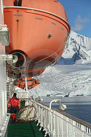 Cruise ship, icebreaker, with lifeboat