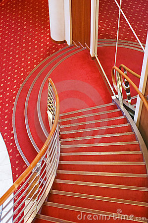 Cruise ship interior stairs