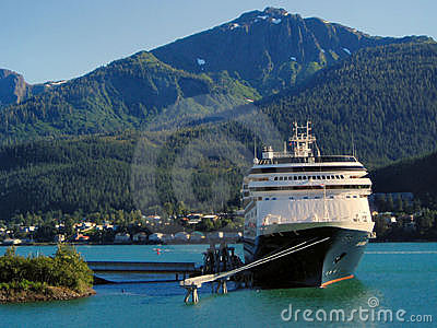 Cruise ship in Juneau, Alaska harbor