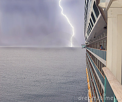 Cruise ship and lightning