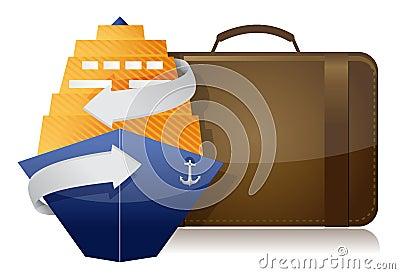 Cruise ship and luggage