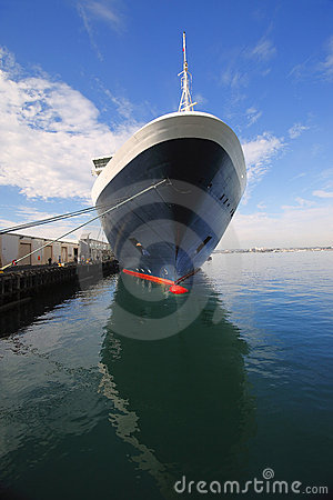 Cruise ship moored.
