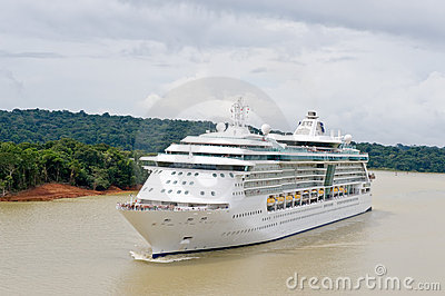 Cruise ship in Panama canal