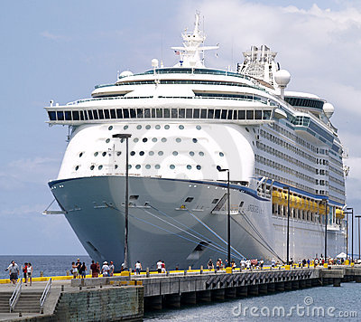 Cruise Ship and Passengers Editorial Stock Photo