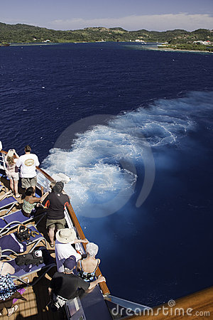 Cruise Ship  - Passengers watch Island Views Editorial Photography