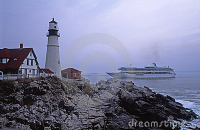 Cruise Ship Passing Portland Head Lighthouse
