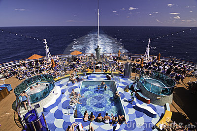 Cruise Ship  - Pool Party Spot Editorial Photo