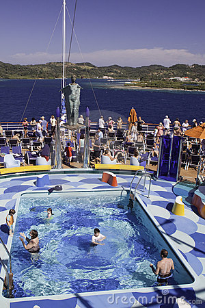 Cruise Ship -  Poolside off the Island of Roatan Editorial Image