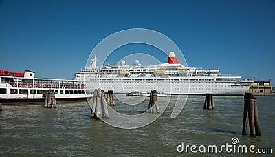 Cruise ship in port.