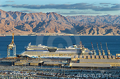 Cruise ship in port of Eilat, Israel Editorial Stock Photo