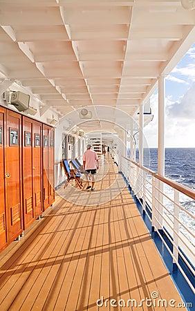 Cruise ship promenade deck