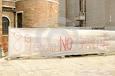 Cruise Ship Protest Banner, Venice Editorial Photography